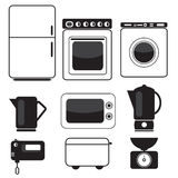 Icons of kitchen equipment. Icon set of kitchen appliances and devices Stock Images