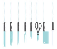Icons of kitchen knifes vector illustration