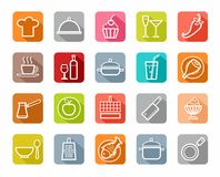 Icons, kitchen, restaurant, food, beverages, white outline, colored background, shadow. Royalty Free Stock Images