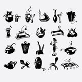 Icons on a kitchen theme Stock Photos