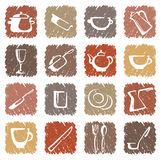 Icons of kitchen ware Stock Images