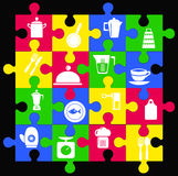 Icons kitchen  ware Shape puzzle Stock Photo