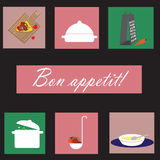 Icons with kitchenware Royalty Free Stock Photos