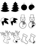 Icons labels for christmas and new year black silh. Ouette vector illustration isolated on white background royalty free illustration