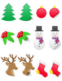 Icons labels for christmas and new year vector ill. Ustration isolated on white background stock illustration