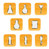 Icons with laboratory glass Royalty Free Stock Images