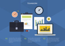 Icons with laptop, digital devices, office objects Stock Images