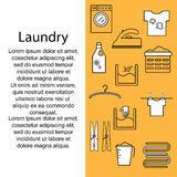 Icons laundry. Banner or poster with icons and a laundry room for text. Template for your text with icons laundry. Stock Photography