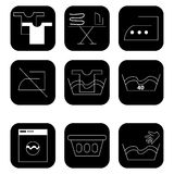 Icons for laundry services. Black and white icons for laundry services Royalty Free Stock Photos