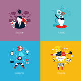 Icons for leadership, planning, gamification and teamwork. Flat Royalty Free Stock Image