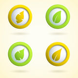 Icons with leaves. Set of 3d buttons with leaves Royalty Free Stock Photo