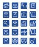Icons legal services, civil law, white, contour, blue background, monochrome. Stock Image
