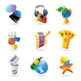 Icons for leisure. Travel, sport and arts. Vector illustration Royalty Free Stock Photos