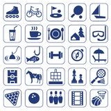 Icons, leisure, entertainment, leisure, Hobbies, monochrome, flat. Royalty Free Stock Images