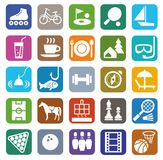 Icons, leisure, entertainment, tourism, color, flat. Stock Photo