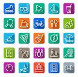 Icons, leisure and entertainment, white outline, solid color. Royalty Free Stock Photos