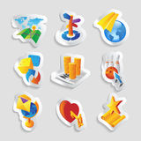 Icons for leisure. Travel, sport and arts. Vector illustration Stock Photos