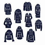 Icons with lettering clothes for women. Set of icons of silhouettes with lettering on a white background isolated 10 Isolated black silhouettes of fashionable Royalty Free Stock Photography