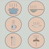 Icons on a light background utensils hot food. In round frame Stock Photography