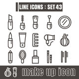 Icons line makeup Modern design Symbol vector black on white bac Stock Photography