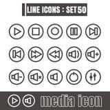 Icons line Media Modern design black vector on white background Royalty Free Stock Image