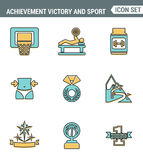 Icons line set premium quality of achiement victory sport icon champion first place. Modern pictogram collection flat design style Stock Images