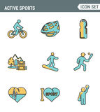 Icons line set premium quality of active sports love sportsman  icon. Modern pictogram collection flat design style symbol. Royalty Free Stock Photos