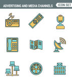 Icons line set premium quality of advertising media channels and ads distribution. Modern pictogram collection flat design style. Royalty Free Stock Photo