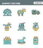 Icons line set premium quality of agriculture and agronomy icon farming feeding business. Modern pictogram collection flat design Stock Image
