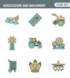 Icons line set premium quality of agriculture and machinery transportation tractor technology. Modern pictogram collection flat. Design style symbol . Isolated royalty free illustration
