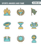 Icons line set premium quality of awards and fame emblem sport victory honor. Modern pictogram collection flat design style symbol Stock Photos