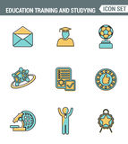 Icons line set premium quality of basic education training and studying online. Modern pictogram collection flat design style. Stock Image