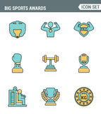 Icons line set premium quality of big sports awards championship champ winner cup sport victory. Modern pictogram collection flat Royalty Free Stock Photo