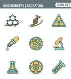 Icons line set premium quality of biochemistry research, biology laboratory experiment. Modern pictogram collection flat design Stock Image
