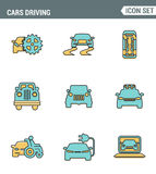 Icons line set premium quality of cars driving transportation transport car automobile. Modern pictogram collection flat design. Style symbol . Isolated white vector illustration
