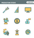 Icons line set premium quality of content production studio, solution projecting. Modern pictogram collection flat design style. White background royalty free illustration