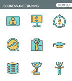 Icons line set premium quality of corporate management and business leader training. Modern pictogram collection flat design style Royalty Free Stock Photo