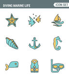 Icons line set premium quality of diving marine life activity sea tropical summer diver equipment. Modern pictogram collection. Flat design style symbol Stock Photo