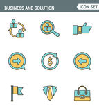 Icons line set premium quality of doing business elements, solution for clients. Modern pictogram collection flat design style. Royalty Free Stock Image