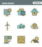 Icons line set premium quality of eco friendly green energy, clean sources power. Modern pictogram collection flat design style Royalty Free Stock Photos