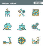 Icons line set premium quality of family camping travel summer nature cooking vacation camp. Modern pictogram collection flat Stock Images