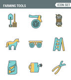 Icons line set premium quality of farming tools instrument farm equipment agricultural. Modern pictogram collection flat design Stock Photography