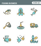 Icons line set premium quality of fishing business transportation fish seafood sea . Modern pictogram collection flat design. Style symbol . Isolated white vector illustration