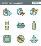 Icons line set premium quality of fitness icon. Sports food load mode burn calories healthy diet. Modern pictogram collection flat Stock Photography