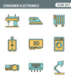 Icons line set premium quality of home appliances, household consumer electronics. Modern pictogram collection flat design style Royalty Free Stock Photo