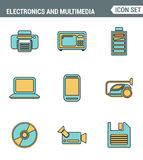 Icons line set premium quality of home electronics and personal multimedia devices. Modern pictogram collection flat design style. Royalty Free Stock Photography