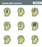 Icons line set premium quality of human mind features, characters profile identity. Modern pictogram collection flat design Royalty Free Stock Photo