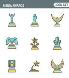 Icons line set premium quality of media awards champion prize business reward elements. Modern pictogram collection flat design Royalty Free Stock Image