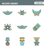 Icons line set premium quality military awards star medal winner prize victorysymbol. Modern pictogram collection flat design Stock Image
