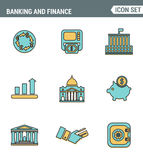 Icons line set premium quality of money making, banking and financial services. Modern pictogram collection flat design style. Symbol .  white background Royalty Free Stock Photo
